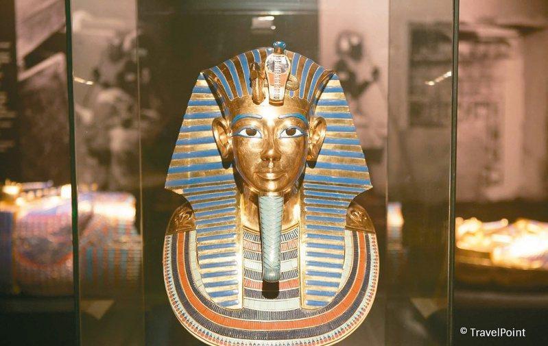 「圖坦卡門-法老王的黃金寶藏特展」將還原圖坦卡門在帝王谷中的陵墓場景;圖為圖坦卡門的黃金面具。圖/聯合數位文創提供