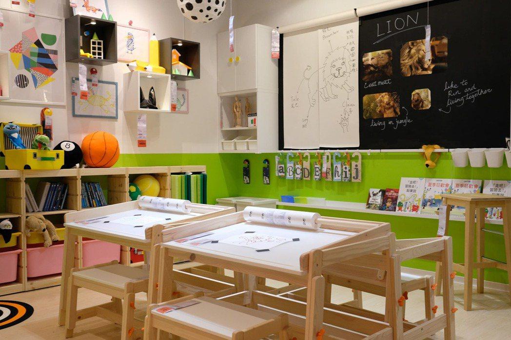 IKEA兒童教室配合現今少子化的趨勢,不只有托育的功能,規劃上除了教學桌椅,更運...