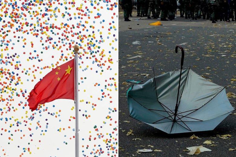 十一中共在北京天安門盛大舉辦建政70週年大典(左),然而遠在南端的香港,在同一天街頭依舊出動鎮暴警察武裝鎮壓。 圖/美聯社