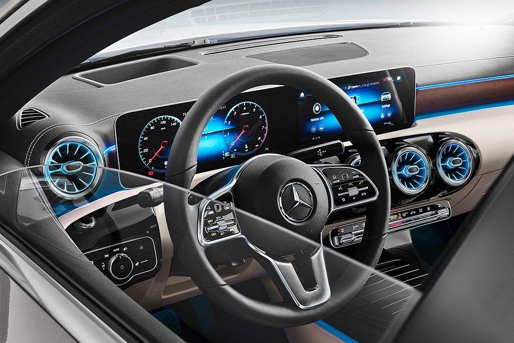 賓士A-Class Sedan台灣導入的兩車型皆標準配備10.25吋高解析度觸控...