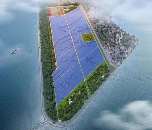 台電彰濱太陽光電案場,面積140公頃,裝置容量100MW,年發 1.3 億度綠電,為目前全台最大已完工併聯的太陽光電案場