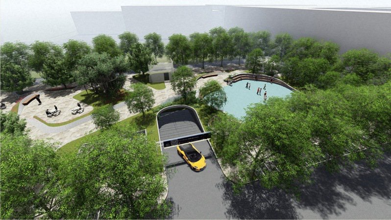 永康公園地下停車場工程目前已辦理地下3層樓地板施作,預計2020年4月完工。示意圖/新北市交通局提供