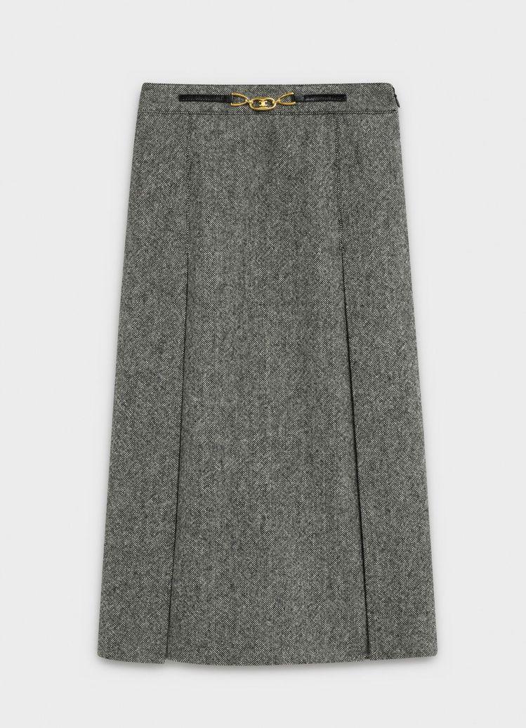灰色粗花呢羊毛裙子,售價69,000元。圖/CELINE BY HEDI SLI...