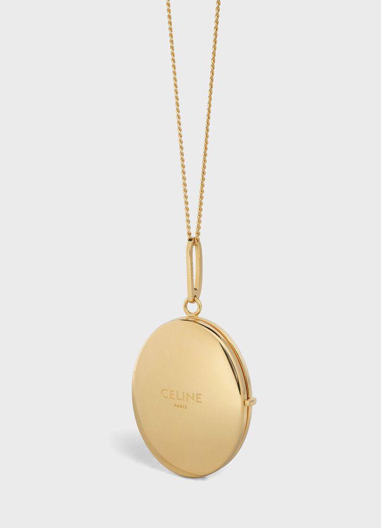 金色黃銅鏡子吊墜項鍊(外觀),售價21,500元。圖/CELINE BY HED...