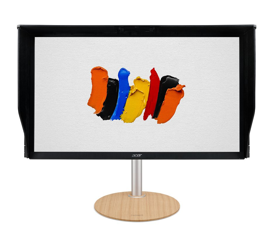 ConceptD顯示器具有俐落黑色機身搭配沉穩木紋底座,建議售價33,900元起...