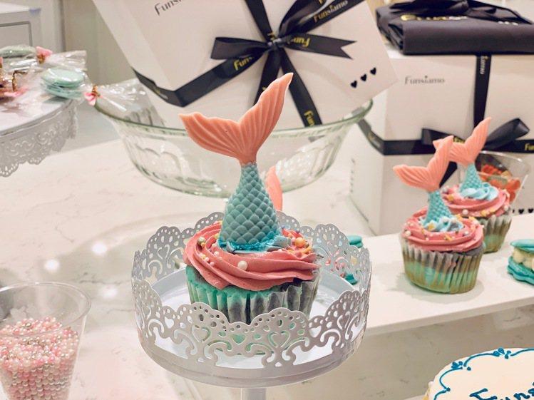 Funsiamo「人魚公主」杯子蛋糕。記者張芳瑜/攝影