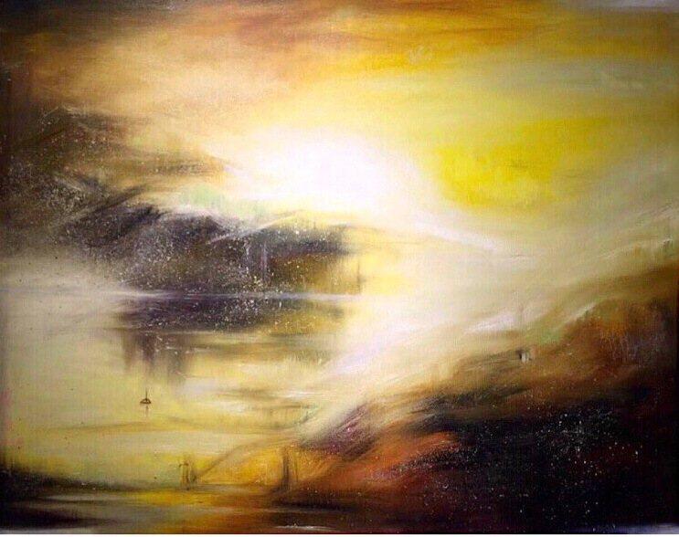 陳歡油畫作品「氤氳山水」91cmX72.5。陳歡/提供
