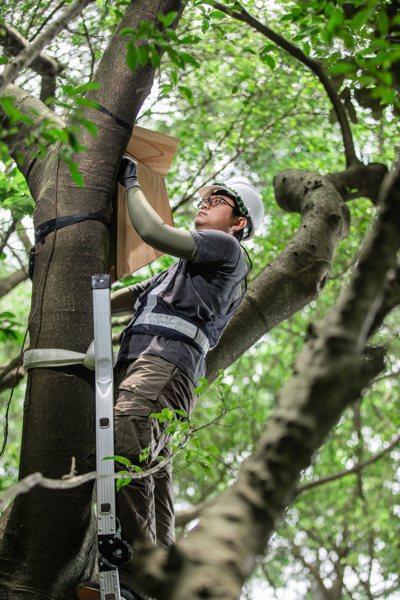 博威鳥控執行長杜昆盈和屏科大的兩位同學,將專業知識應用於野生動物的管理。 圖/博...