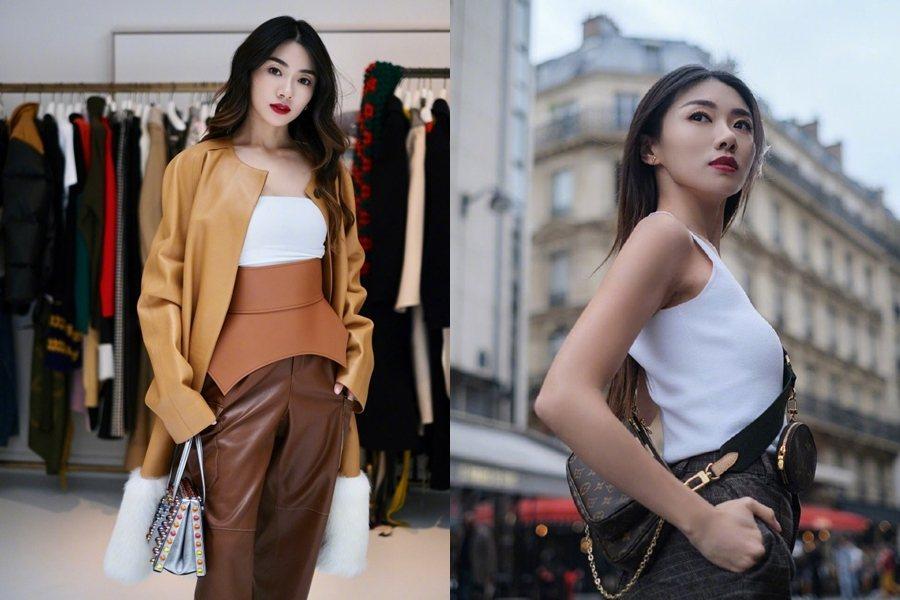 程曉玥到法國參加時裝展活動,趁機在街頭拍下POSE照。 圖片來源/微博