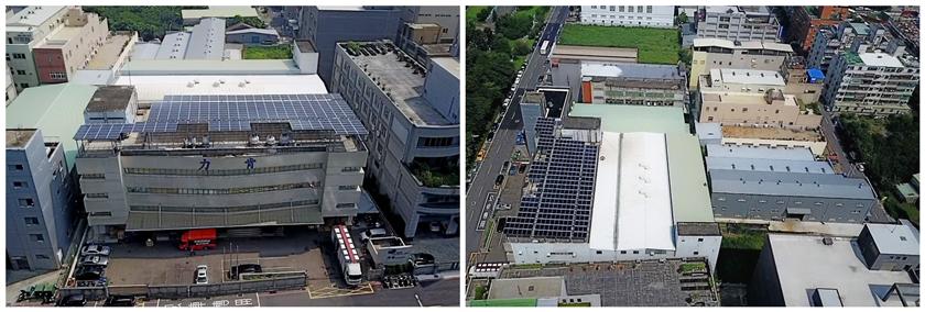力肯屋頂型太陽能電廠完工空拍圖,與鄰近可建置廠房屋頂。 寶聚/提供