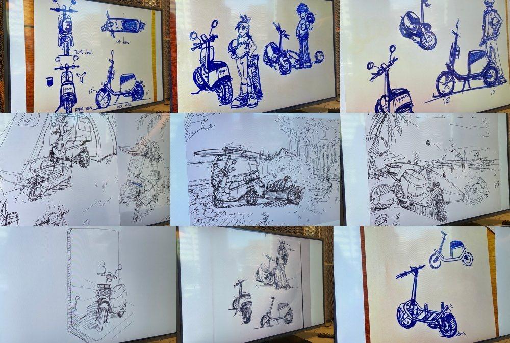 在Gogoro VIVA設計過程中,其實曾經透過許多草圖想像各類應用場景,進而建...