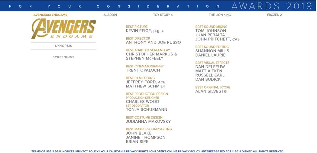 迪士尼的奧斯卡造勢網站上,列出的「復仇者聯盟:終局之戰」角逐獎項上沒有任何演技獎...