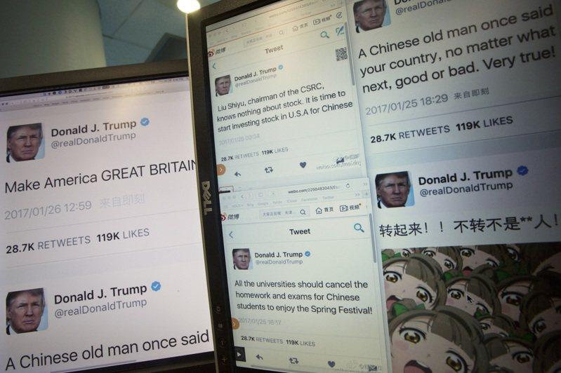 彭博資訊發現,川普的推文只要出現「中國」的字眼,標普500指數通常是跌多漲少。圖/美聯社