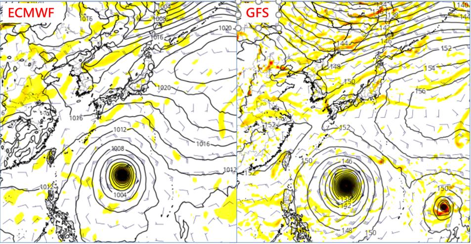 最新(3日20時)歐洲(ECMWF)模式,模擬10日20時預測圖顯示(左),熱帶...