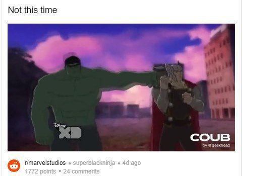 漫威最新動畫揶揄了「復仇者聯盟」的熱門橋段。圖/摘自推特