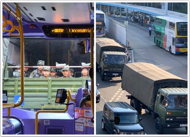 網友拍攝的解放軍軍車在香港鬧區出現。圖/取自星島日報網站