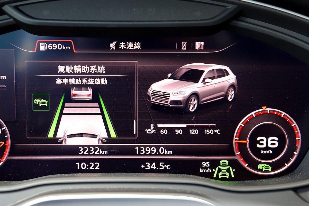 當儀表內的車道標線顯示為綠色,表示主動式車道維持及偏離警示已經開始偵測,搭配AC...