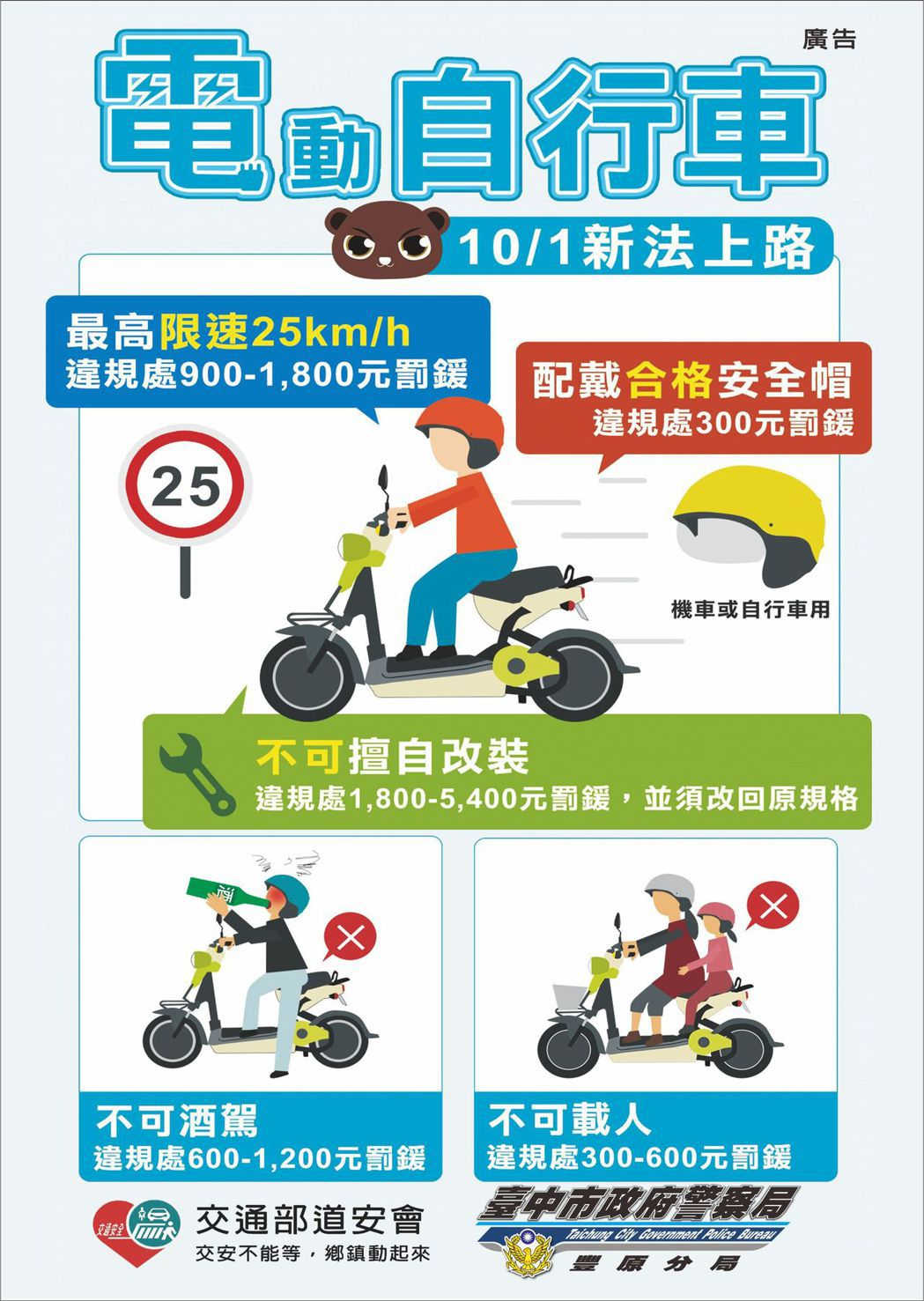 台中市警局豐原分局製作警示牌面與宣導單,加強宣導。圖/台中市警察局豐原分局提供