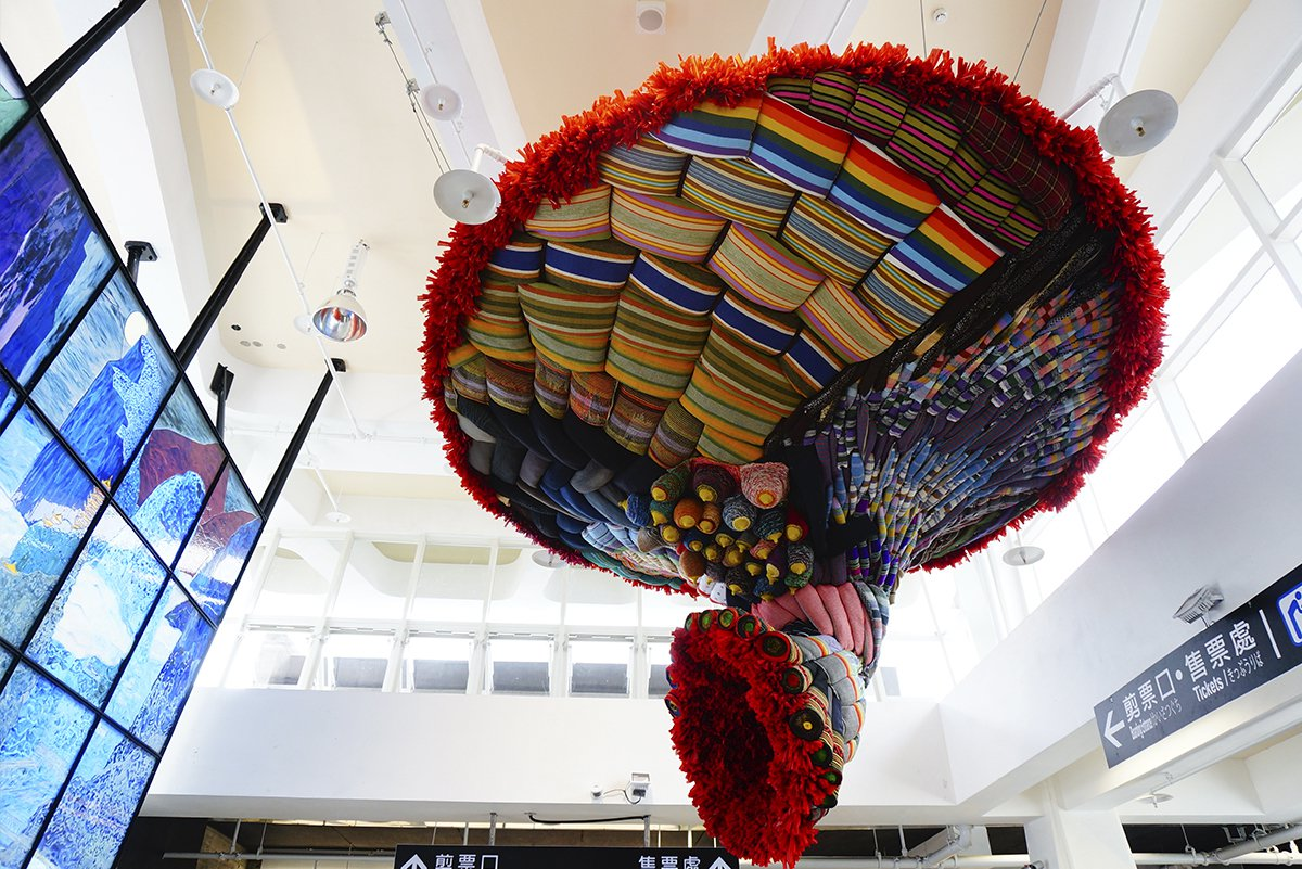 花蓮公共藝術票選第一名,林介文作品「織路」。圖/文化局提供