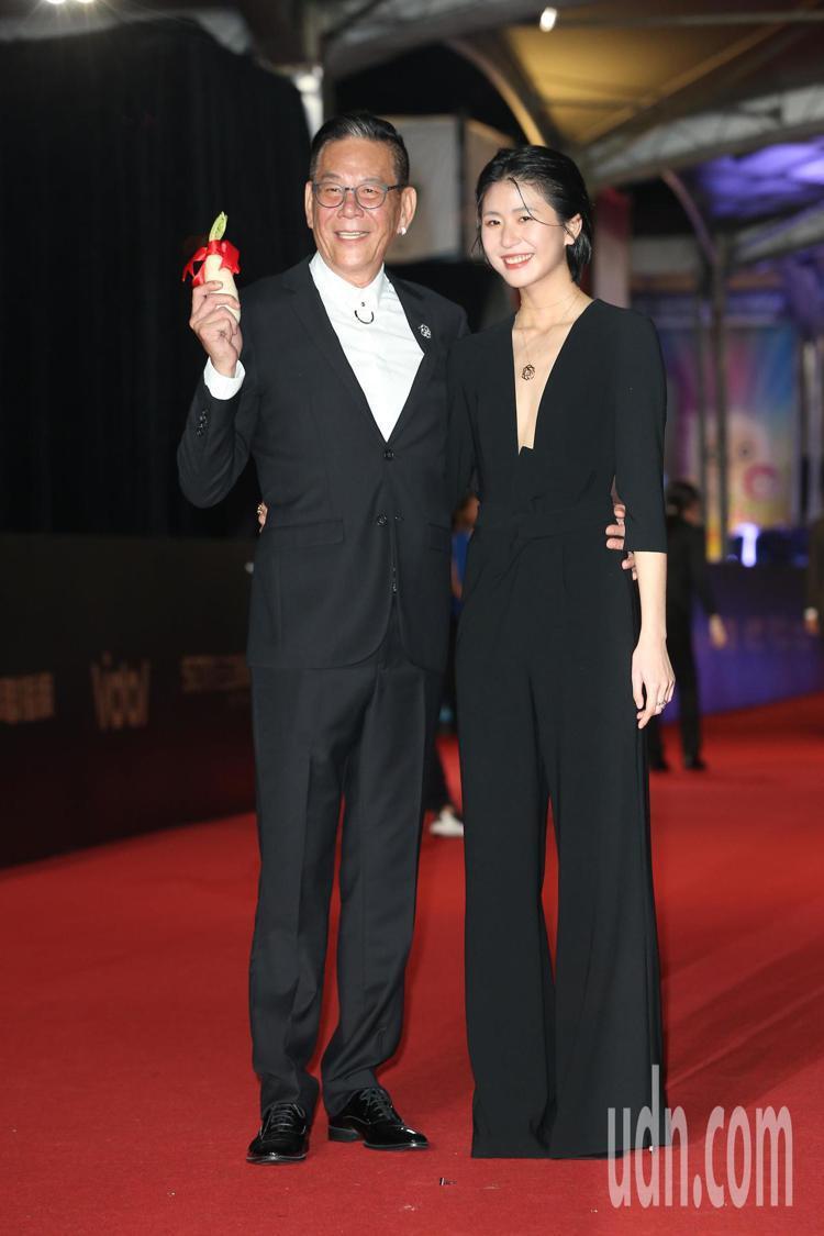 龍劭華(左)、陳璇走星光大道。記者陳立凱/攝影
