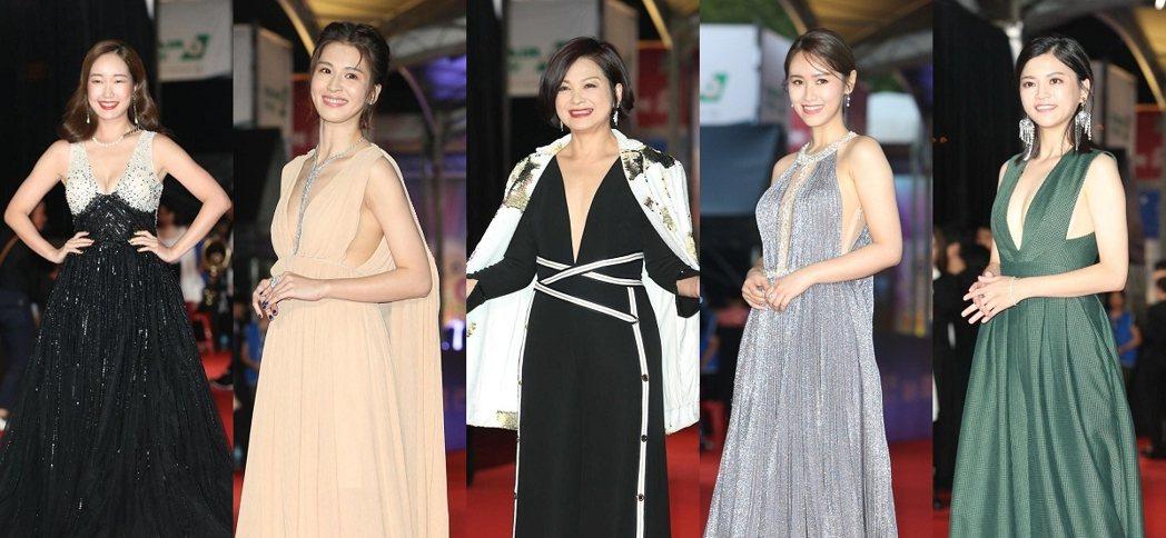 巴鈺(左起)、曾沛慈、楊貴媚、吳姍儒、瑪莉亞(葉欣眉)都選穿深V禮服。記者陳立凱