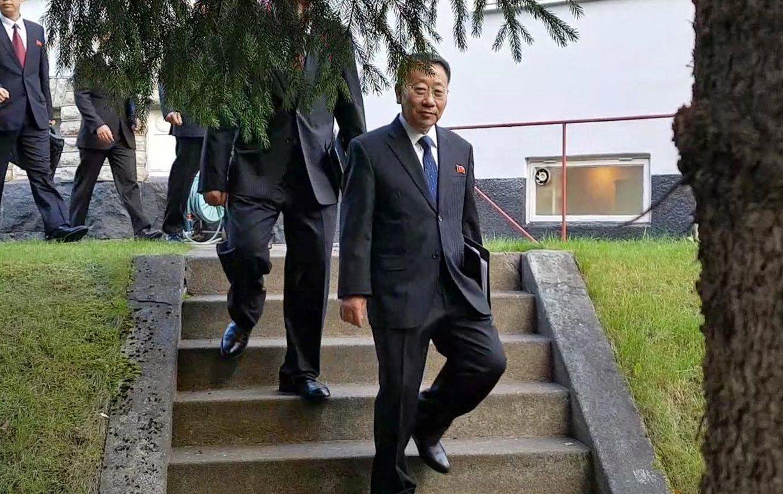 北韓核子談判代表金明吉(Kim Myong Gil)。 歐新社