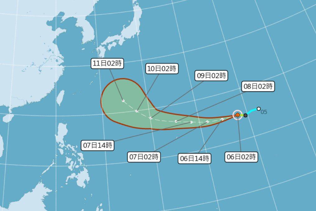 颱風哈吉貝路徑預測。圖/中央氣象局提供