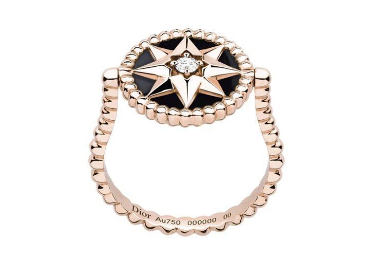 Rose des Vents系列羅盤玫瑰玫瑰金鑽石黑瑪瑙戒指,約10萬4,500...