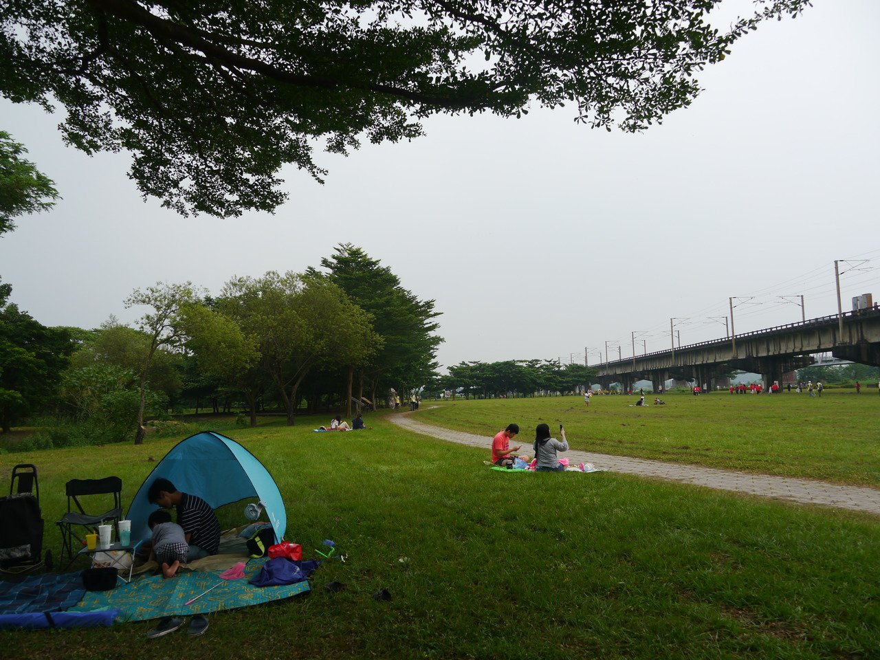 高雄大樹舊鐵橋濕地公園占地寬廣,鐵軌不時會有火車經過,假日會有民眾在草地上野餐、...