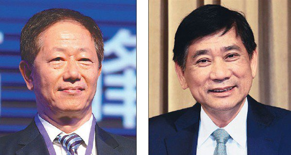 台積電董事長劉德音(左)可成董事長洪水樹