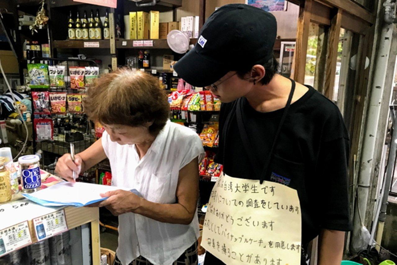弘光科大學生出國自主學習,在日本做問卷調查。圖/弘光科大提供