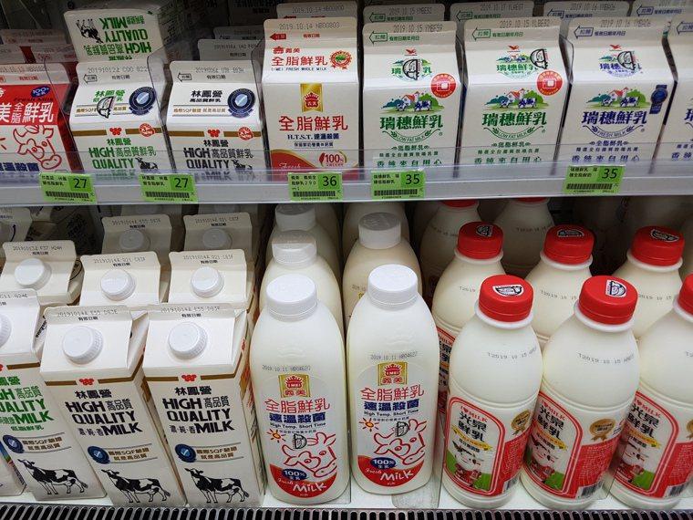 市售牛奶。記者楊雅棠/攝影