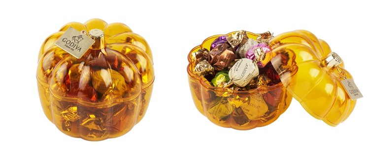 GODIVA萬聖節巧克力南瓜形禮盒18顆裝,售價990元。圖/GODIVA提供