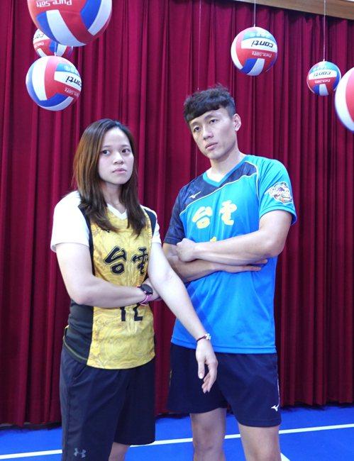 台電女排楊孟樺(左)與男排張善源。記者毛琬婷/攝影