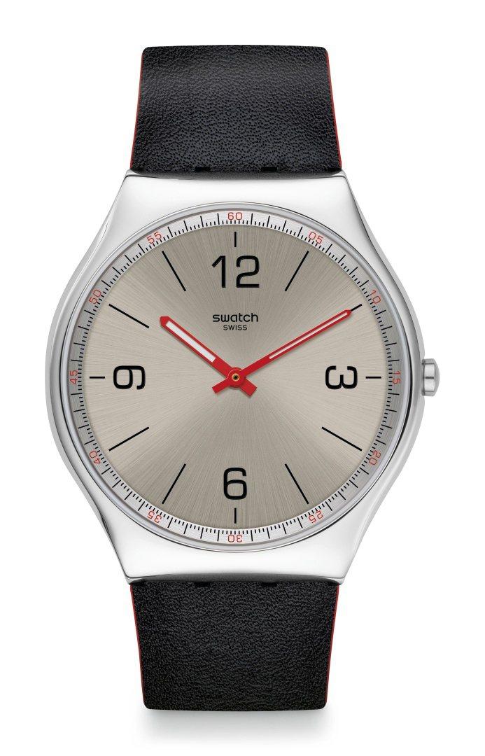 SKIN Irony系列質感銀超薄腕表,不鏽鋼表殼,42毫米表徑,5,350元。...
