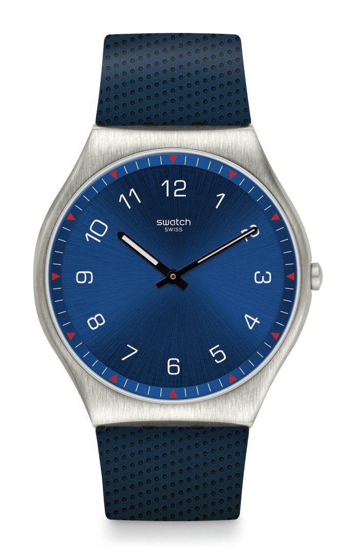 SKIN Irony系列海軍藍超薄腕表,不鏽鋼表殼,42毫米表徑,5,350元。...
