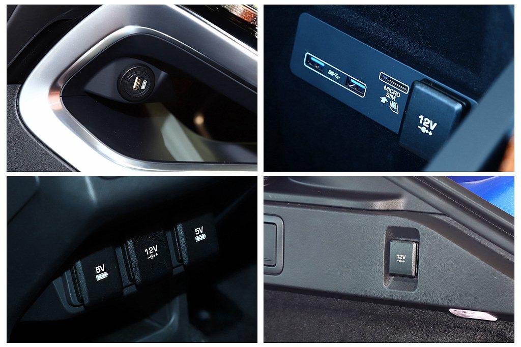 Jaguar I-Pace車上共有多達4個USB插槽、2個5V插槽、3個12V插...