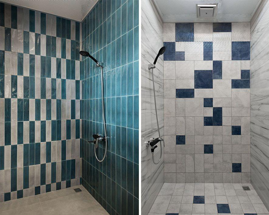 (圖)另外兩間衛浴與前者不同,運用鮮明的幾何元素,創造俄羅斯方塊般的視覺趣味,為...