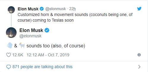 馬斯克推文寫出他對自家電動車警示音的想法。 擷自馬斯克推特