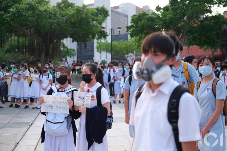 19日下午香港沙田舉辦築人鏈活動。(香港01)