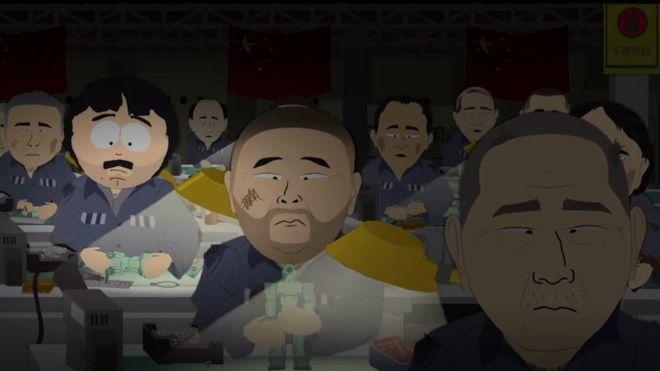 美國成人動畫劇 《南方四賤客》在最新劇集中有中國勞改營強迫勞動的橋段。截圖自《南...