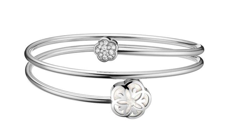 歐米茄Flower系列手環,18K白金、鑽石、珍珠母貝,約10萬1,500元。圖...