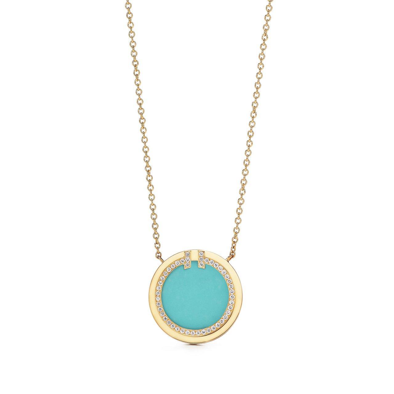Tiffany T Two 18K金鑲嵌綠松石與鑽石鍊墜,約90,000元。圖/...