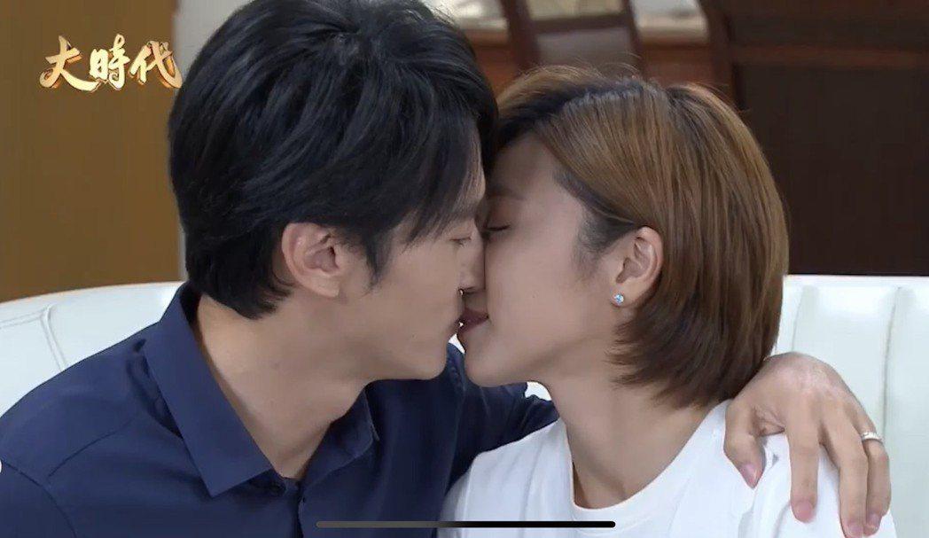 王瞳、馬俊麟在「大時代」番外篇親吻鏡頭,再度引發網友譁然。圖/民視提供
