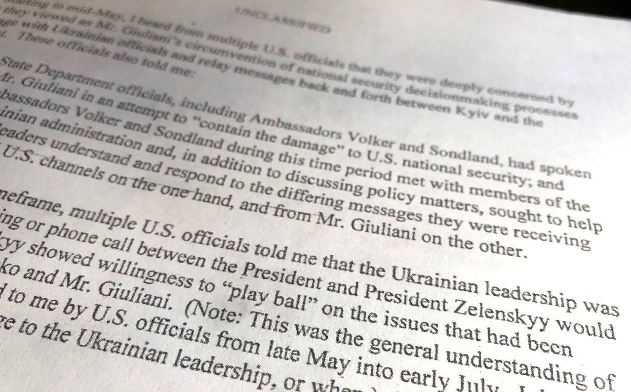 美國眾院情報委員會公布的檢舉信,內容是吹哨者舉報川普施壓烏克蘭調查政敵,涉嫌濫權...