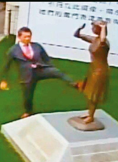 日人藤井實彥去年到台南市慰安婦銅像現場,做出腳踹銅像動作,被監視器拍下。 圖/謝...