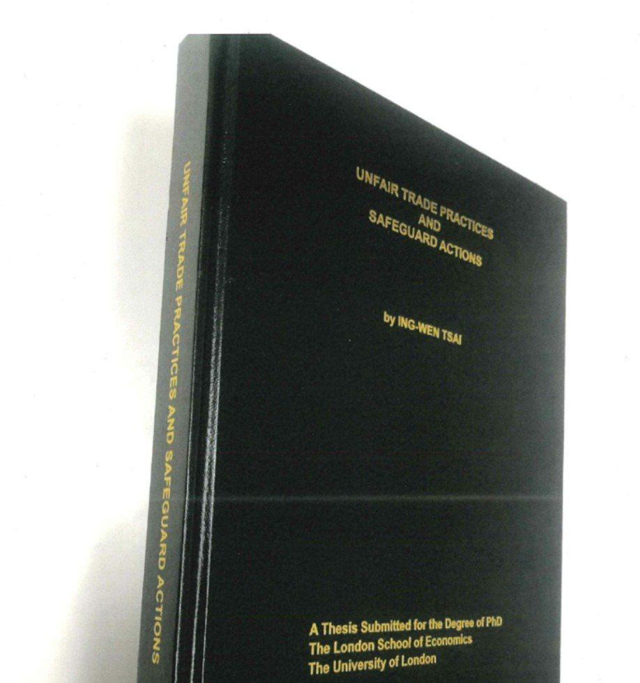 蔡英文1984年取得學位的博士論文,陳列於LSE圖書館特藏閱覽區,日前由教育部委...