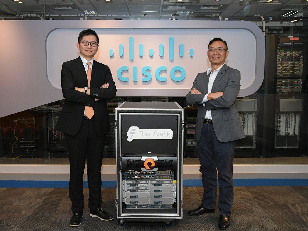 Pure Storage台灣區總經理吳元愷(左)Cisco台灣總經理陳志惟為雙方...