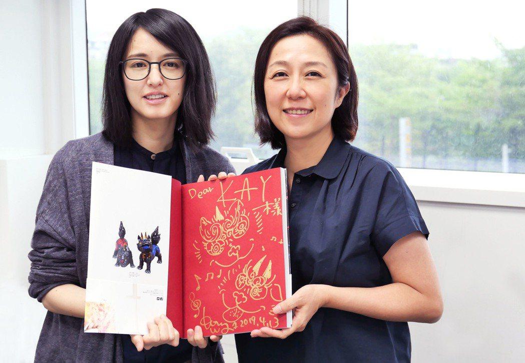 日本當代藝術家小松美羽(左)與黃韻玲(右)跨界為VR互動藝術作品「祈禱」合作。圖...