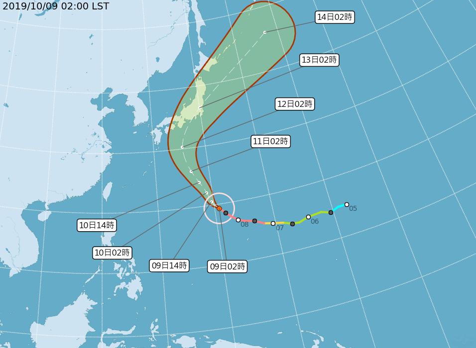 強烈颱風哈吉貝動態潛勢圖。圖/取自氣象局網站